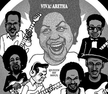 Aretha Franklin Chuck Rainey Stanley Clarke Tommy Cogbill Jerry Jemmott Marcus Miller Louis Johnson caricature likeness