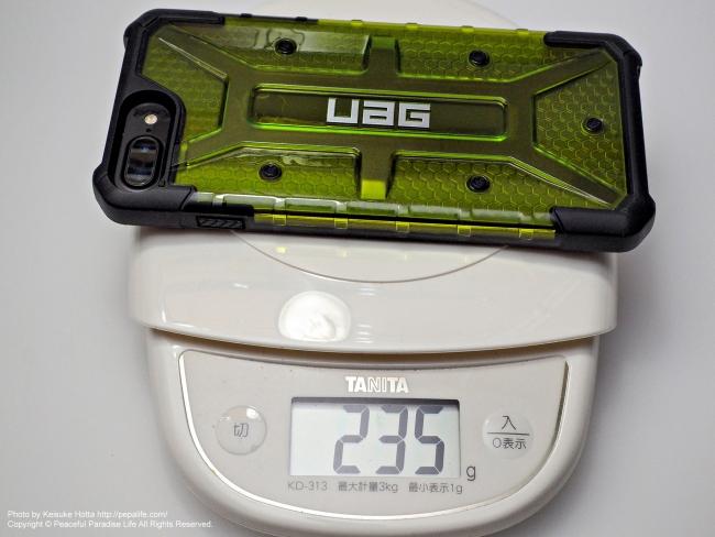 UAG PlasmaにiPhone7Plusを装着 重量235g