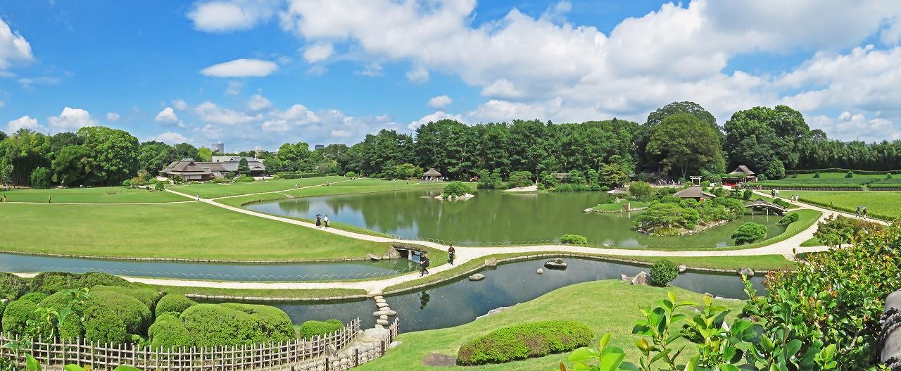 20180916 後楽園今日の唯心山頂上から眺めた園内ワイド風景 (1)