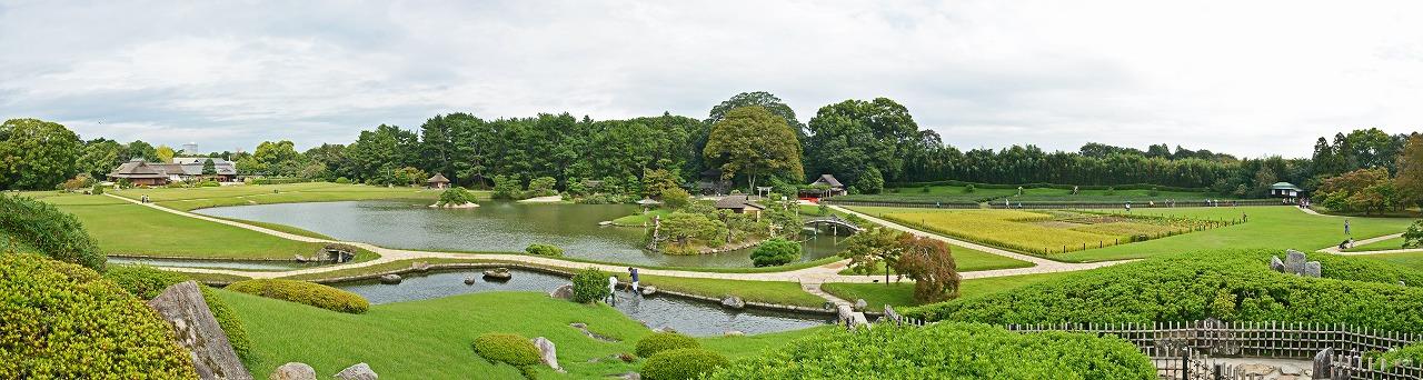 20181005 後楽園今日の唯心堂付近から眺めた園内ワイド風景 (1)