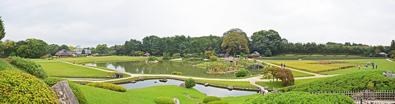 20181010 後楽園今日の唯心堂付近から眺めた園内ワイド風景 (1)