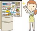 冷蔵庫のお掃除をする女性のイラスト