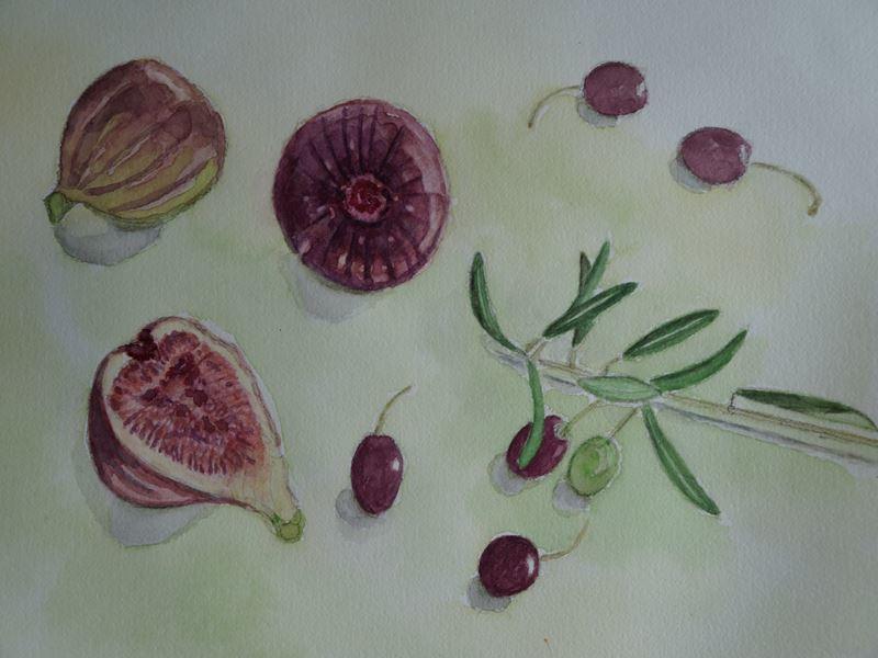 無花果とオリーブ水彩画
