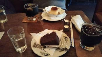 10/6 アイスコーヒーとプリンとチョコレートケーキ  珈琲井川