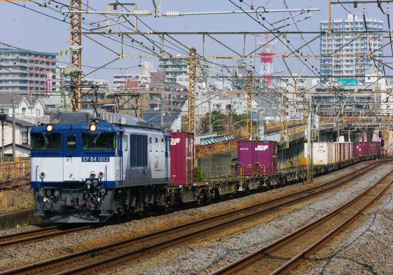 EF64-1000 3075ㇾ 東海道線 平塚 大磯 貨物列車 撮影地 究極の583系