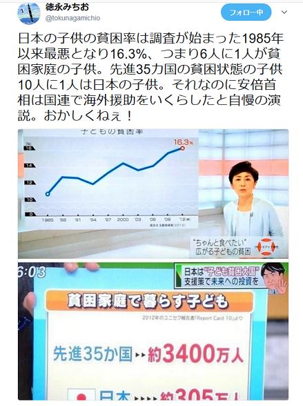 20180924日本の子供の貧困305万人