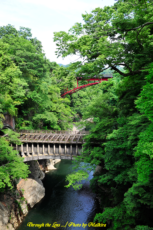 八ツ沢発電所一号水路橋と赤い国道20号の新猿橋1