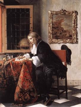 手紙を書く男