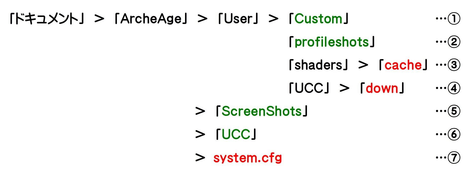 ArcheAgeフォルダーの内容