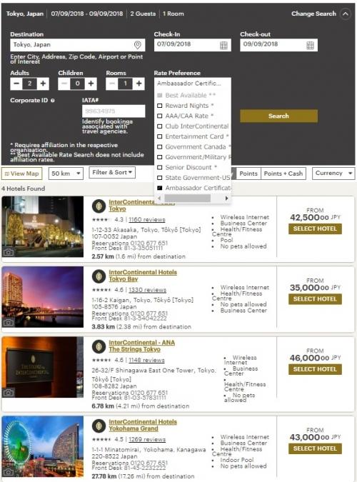 インターコンチネンタル アンバサダー会員の無料週末宿泊券予約ページについて