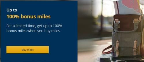 ユナイテッド航空マイレージプラスマイル購入で最大100%ボーナス