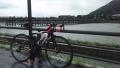 180901雨の渡月橋に到着