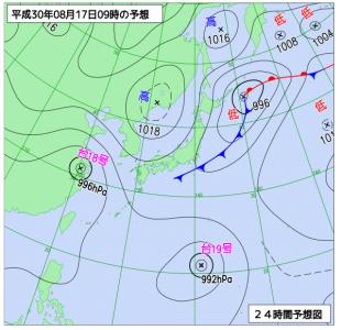 8月17日(金)9時の予想天気図