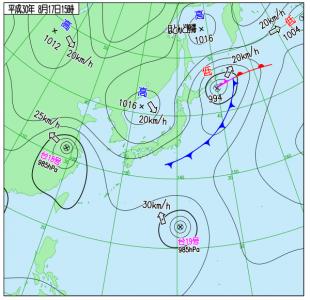 8月17日(金)15時の実況天気図