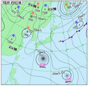 8月20日(月)15時の実況天気図