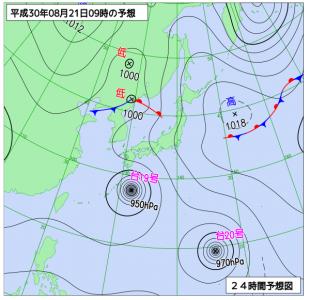8月21日(火)9時の予想天気図