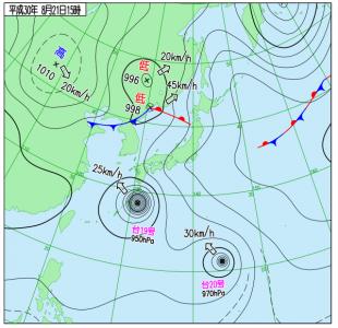 8月21日(火)15時の実況天気図
