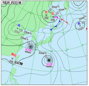 8月22日(水15時の実況天気図