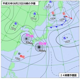 8月23日(木)9時の予想天気図