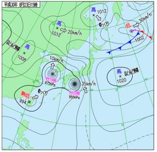 2月23日(木)15時の実況天気図