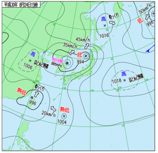 8月24日(金)15時の実況天気図