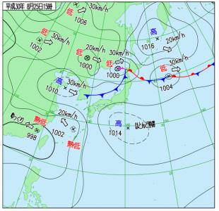 8月25日(土)15時の実況天気図