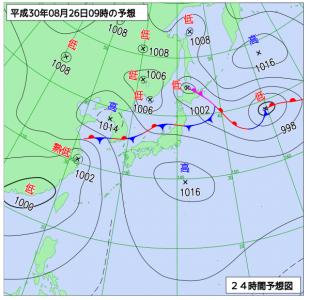 8月26日(日)9時の予想天気図