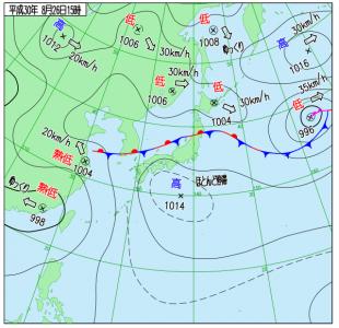 8月26日(日)15時の実況天気図