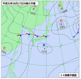8月27日(月)9時の予想天気図