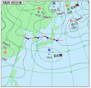 8月27日(月)15時の実況天気図