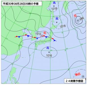 8月28日(火)9時の予想天気図