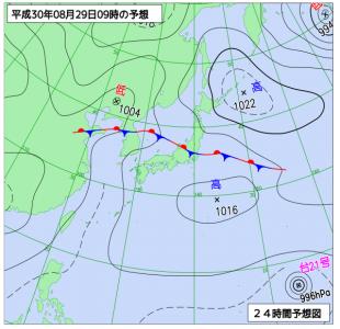 8月29日(水)9時の予想天気図