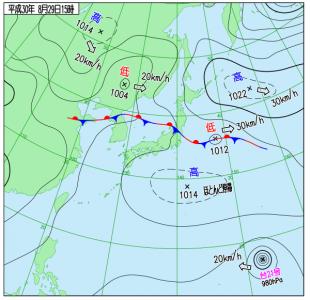 8月29日(水)15時の実況天気図