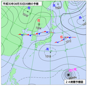 8月30日(木)9時の予想天気図