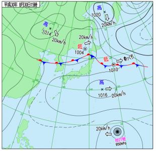 8月30日(木)15時の実況天気図