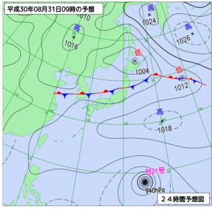 8月31日(金)9時の予想天気図