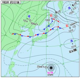8月31日(金)15時の実況天気図