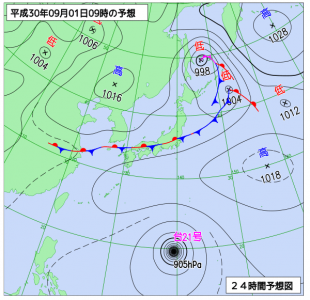 9月1日(土)9時の予想天気図
