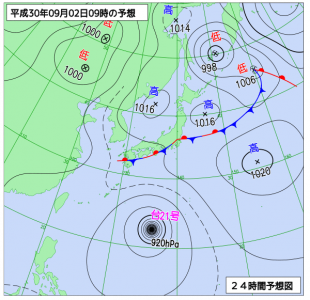9月2日(日)9時の予想天気図