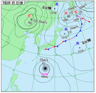 9月2日(日)15時の実況天気図