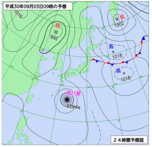9月3日(月)9時の予想天気図