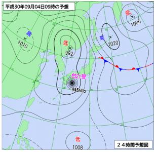 9月4日(火)9時の予想天気図