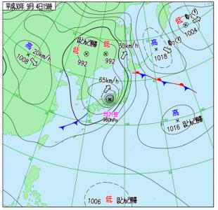 8月4日(火)15時の実況天気図
