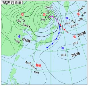9月5日(水)15時の実況天気図