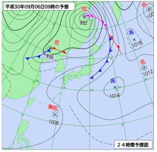 9月6日(木)9時の予想天気図