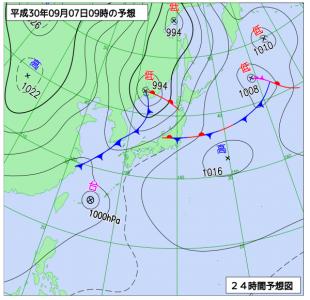 9月7日(金)9時の予想天気図