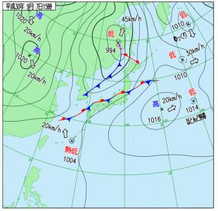 9月7日(金)15時の実況天気図