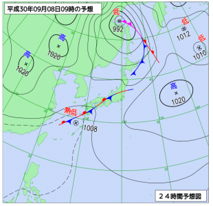 9月8日(土)9時の予想天気図