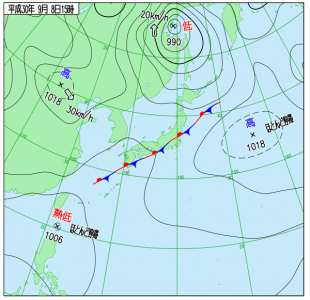 9月8日(土)15時の実況天気図