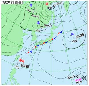 9月9日(日)6時の実況天気図